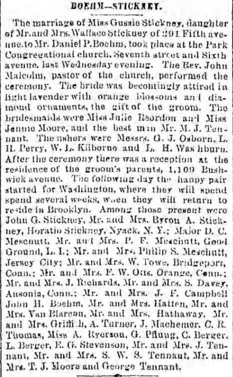 Boehm-Stickney Marriage Announcement