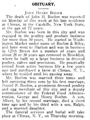 John Henry Boehm obituary